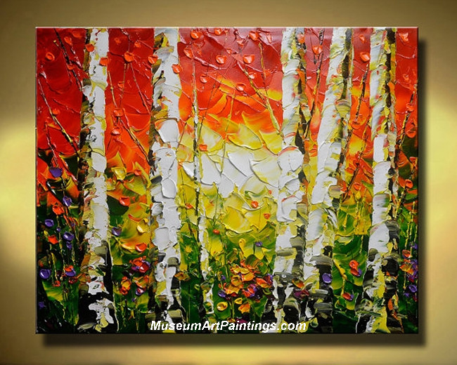 Palette Knife Oil Painting Landscape Tree 001