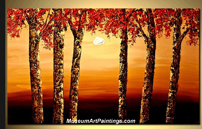 Palette Knife Oil Painting Landscape Tree 012
