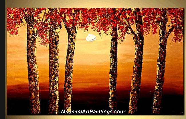 Palette Knife Oil Painting Landscape Tree 012