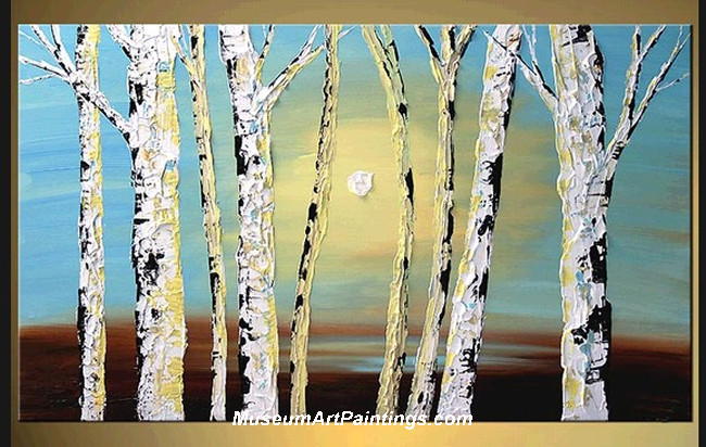 Palette Knife Oil Painting Landscape Tree 014