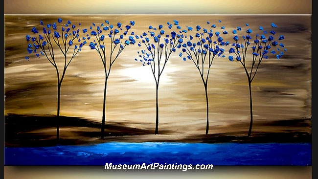 Palette Knife Oil Painting Landscape Tree 019