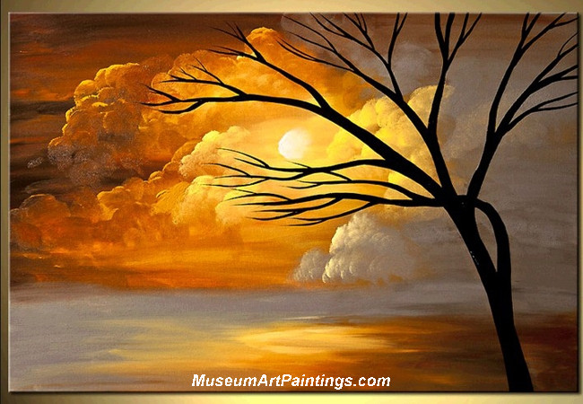 Palette Knife Oil Painting Landscape Tree 021