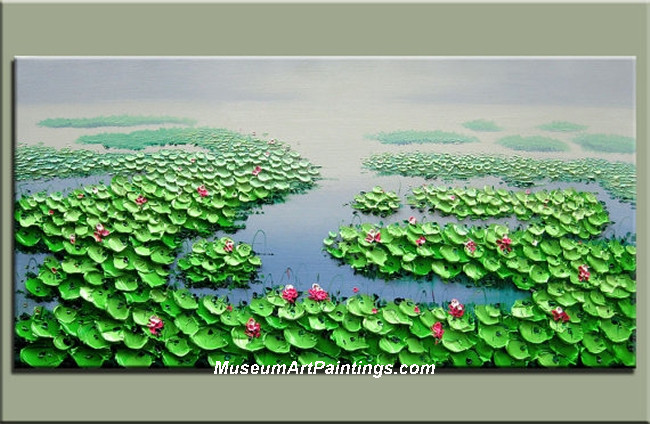 Palette Knife Painting Lotus Pond