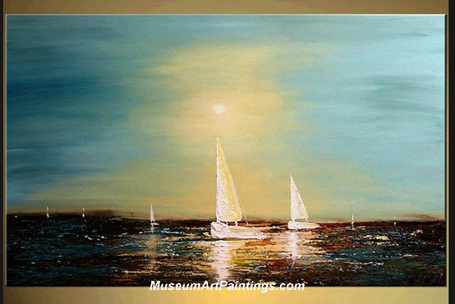 Palette Knife Painting Seascape and Boat 001