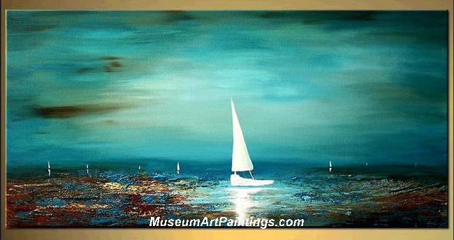 Palette Knife Painting Seascape and Boat 002