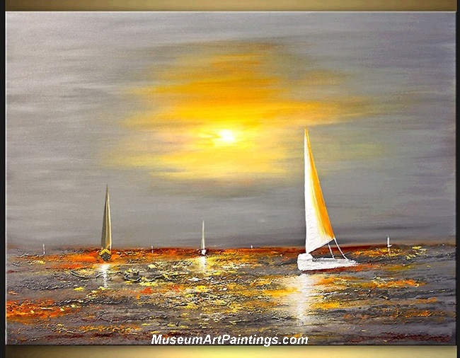 Palette Knife Painting Seascape and Boat 003