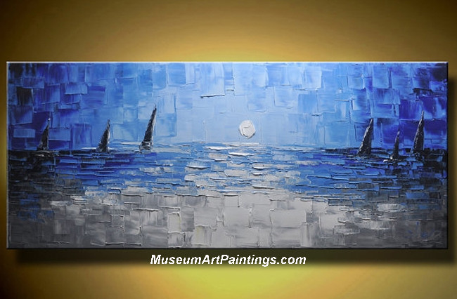 Palette Knife Painting Seascape and Boat 004
