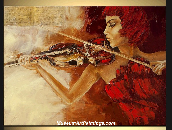 Palette Knife Painting Woman and Violin 004