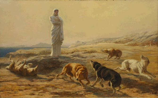 Pallas Athena and the Herdsmans Dogs by Briton Riviere