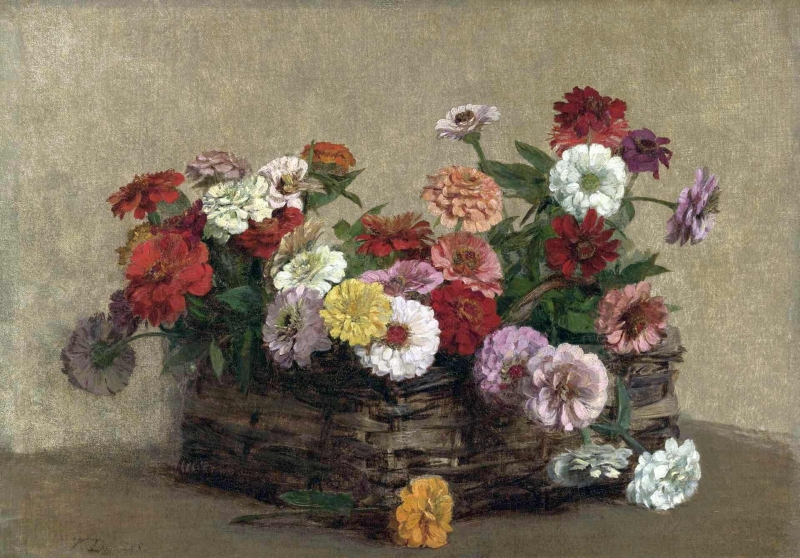 Panier and Zinnias by Victoria Fantin Latour