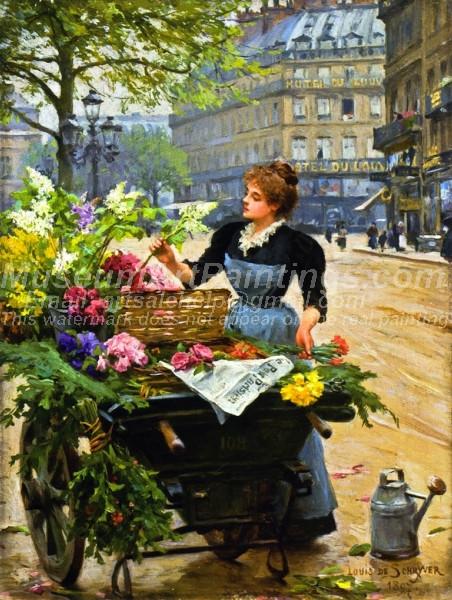 Parisian Flower Seller by Louis Marie de Schryver