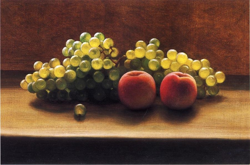 Peaches and Grapes on a Tabletop by George Henry Hall