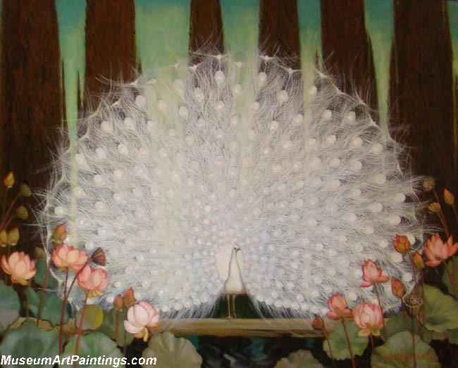 Peacock Paintings White Peacock and Lotus