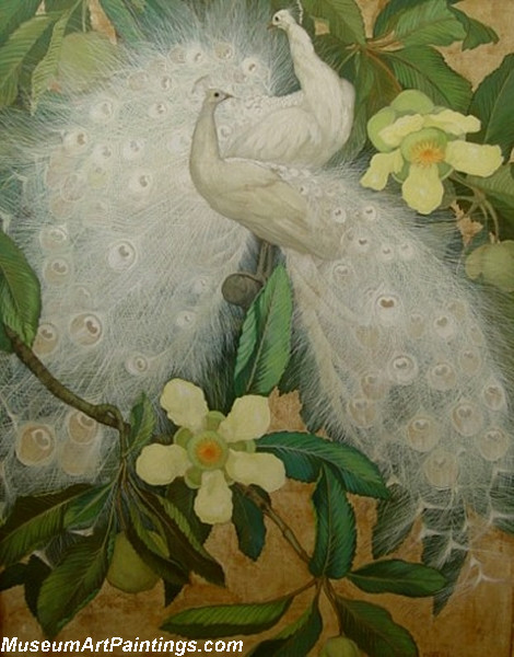 Peacock Paintings White Peacocks with Gold