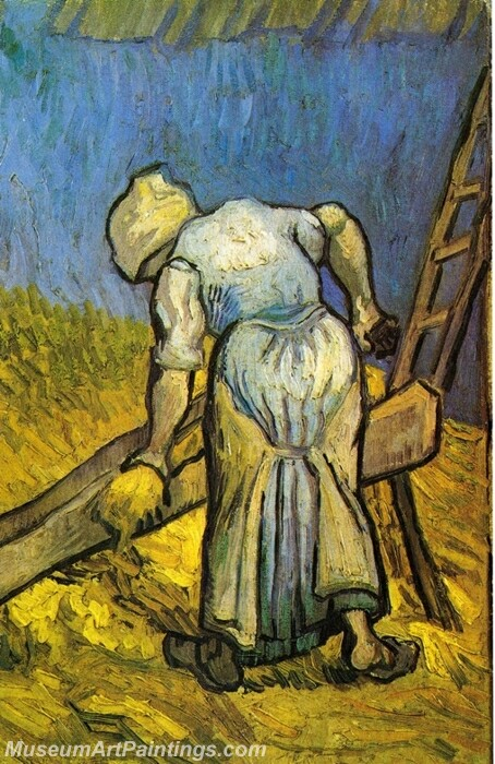 Peasant Woman Cutting Straw Painting