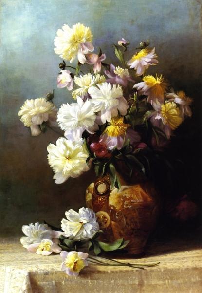 Peonies in an Oriental Vase by Henrietta Augusta Granbery