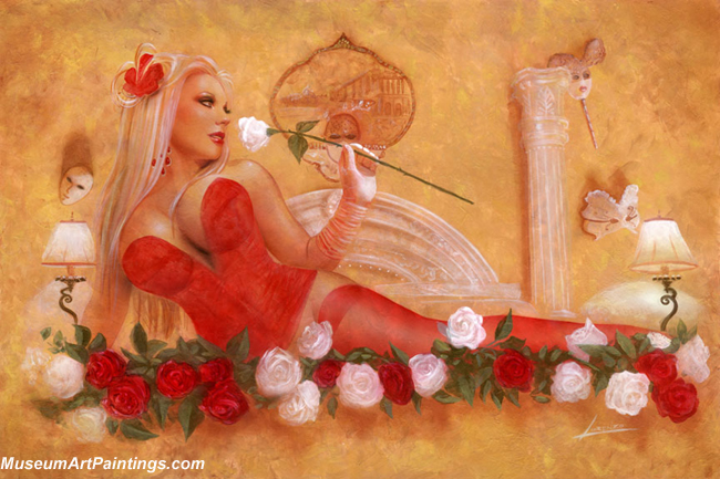Pin Up Paintings A Bed Rose