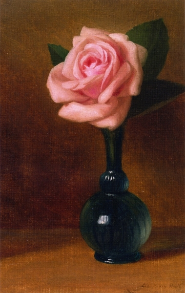 Pink Rose in a Green Vase by George Henry Hall