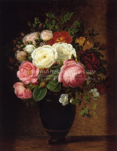 Pink and White Roses in a Black Glaze Amphora on a Brown Marble Ledge