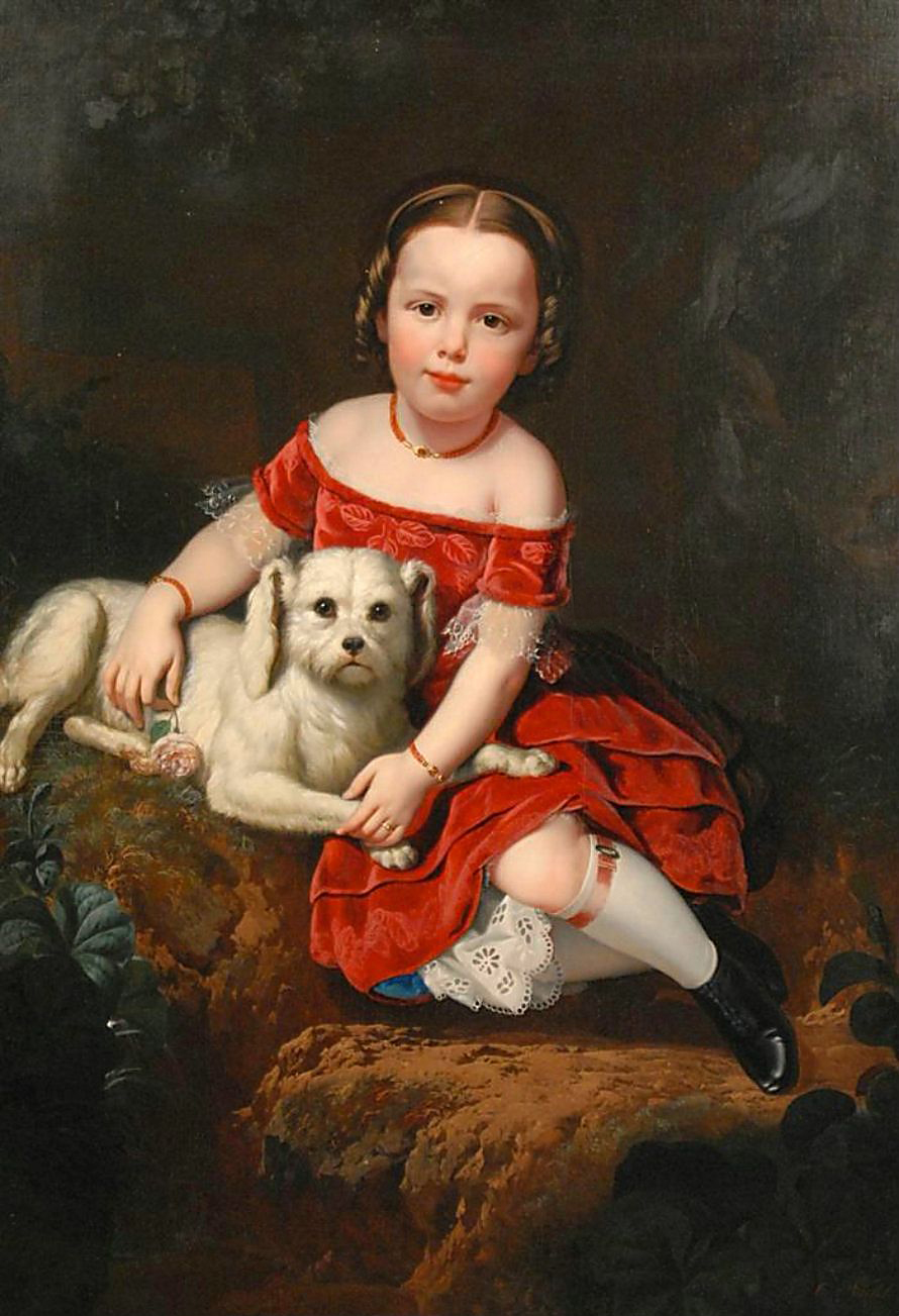Portrait of a Girl with Dog by Charles Christian Nahl