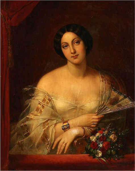 Portrait of a Woman in a White Dress by Charlemagne Oscar Guet