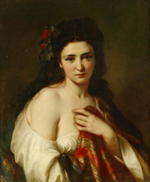 Portrait of a maiden with roses in her hair by Carl Adolf Gugel