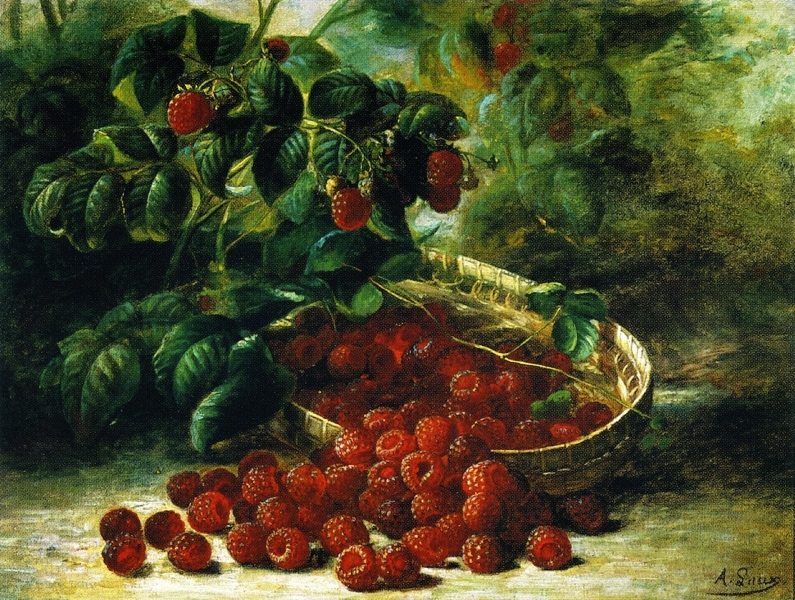 Raspberries in a Basket by August Laux