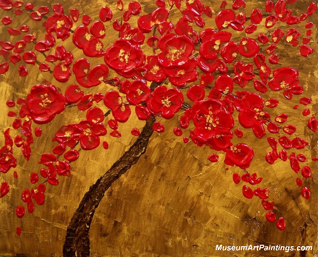 Red Flowers Landscape Tree Painting 009