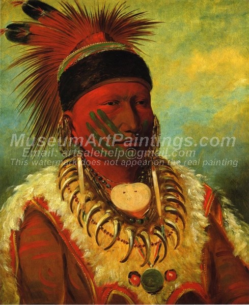 Red Indians Paintings The White Cloud Head Chief of the Iowas