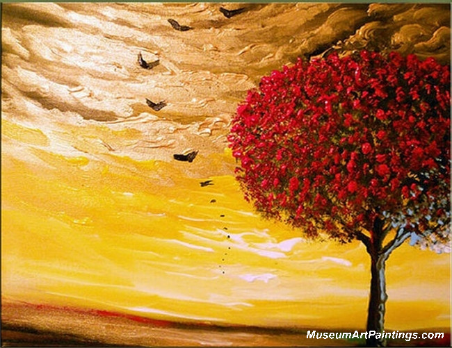 Red Tree Landscape Painting 009