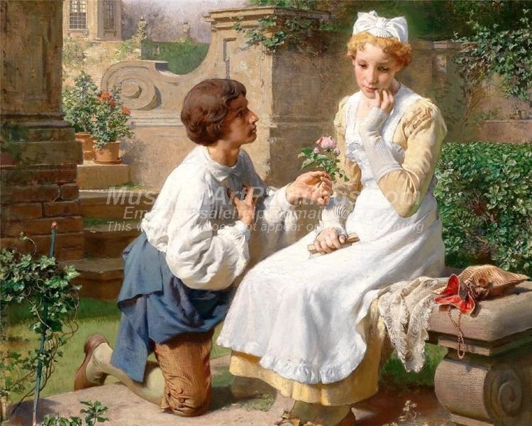 Romantic Scene In The Garden Of Belvedere by Julius Victor Berger