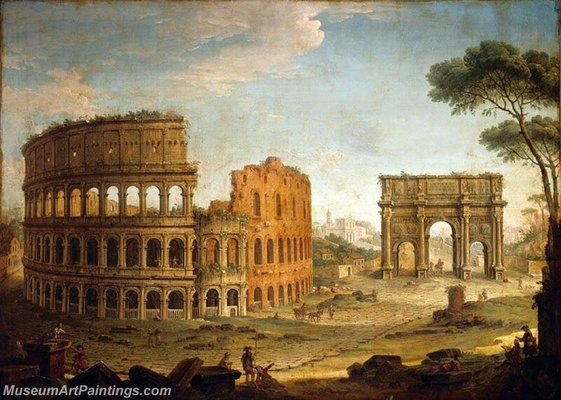 Rome View of the Colosseum and The Arch of Constantine Painting