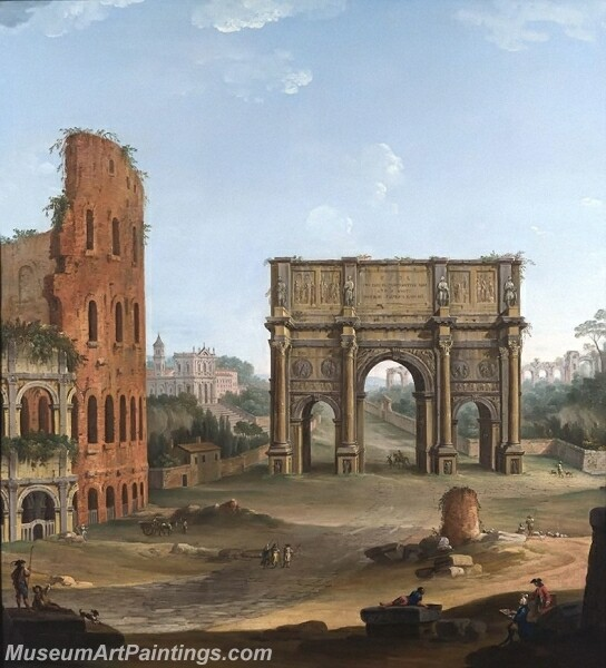 Rome a capriccio view of the Colosseum and the Arch of Constantine Painting