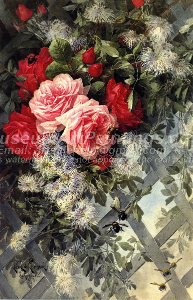 Roses La France and Jack Noses with Clematis on a Latice Work