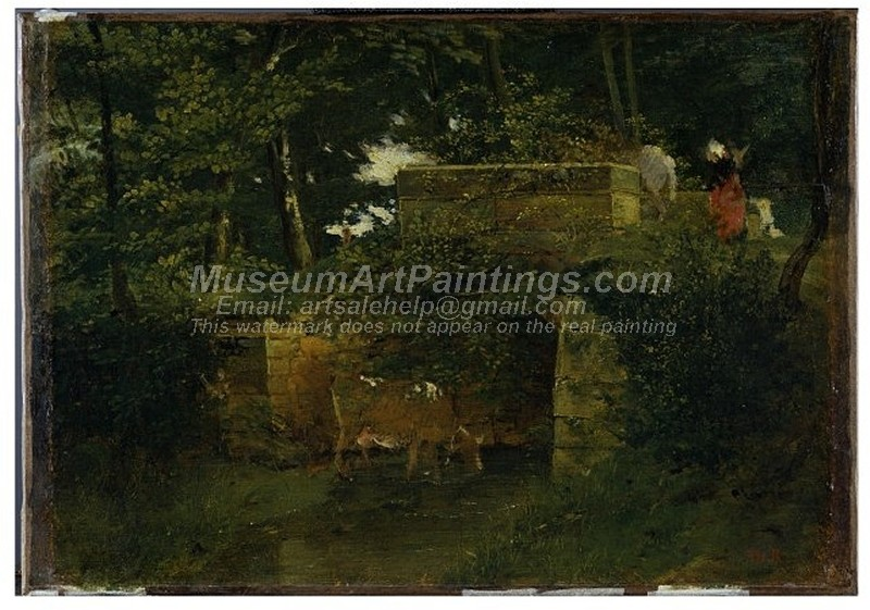 Scenery Paintings Pont de Batignies in the Forest of Compiegne