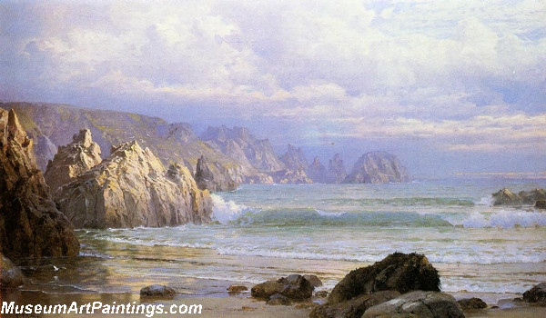 Seascape Along the Cliffs Painting