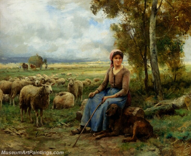 Shepherdess Watching Over Her Flock Painting