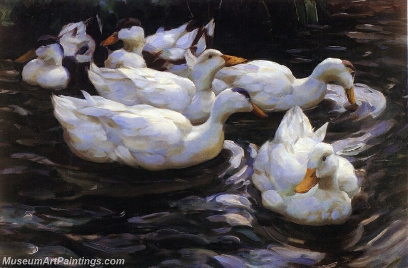 Six Ducks in a Pond Painting