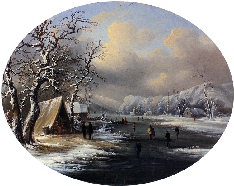 Skating on the Pond by Marie Francois Regis Gignoux