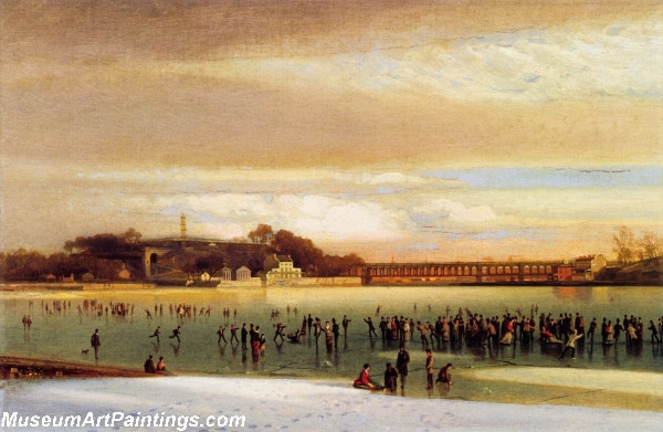 Skating on the Schuylkill Painting