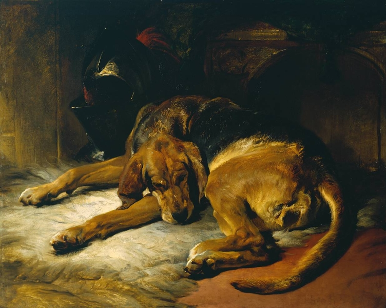 Sleeping Bloodhound by Sir Edwin Henry Landseer