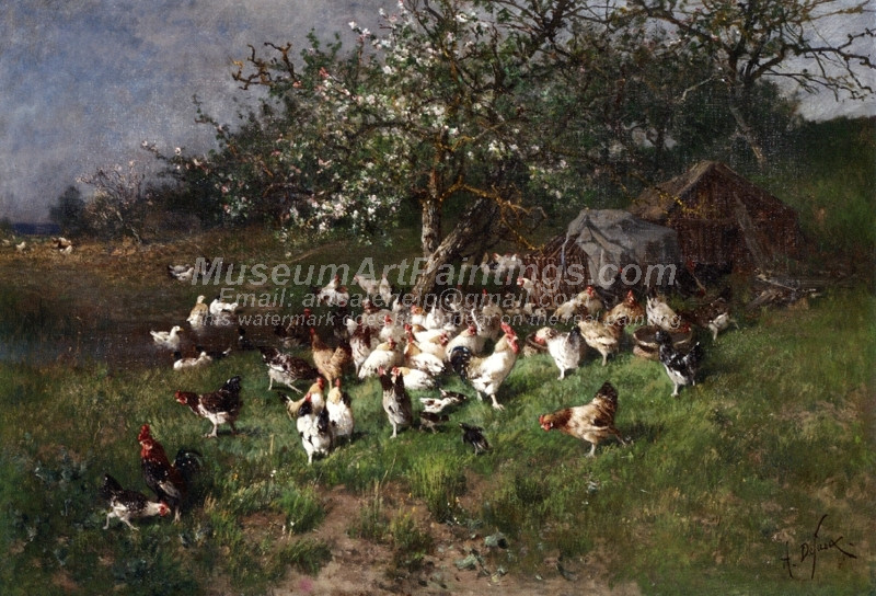 Spring Chickens under Flowering Apple Trees by Alexandre Defaux