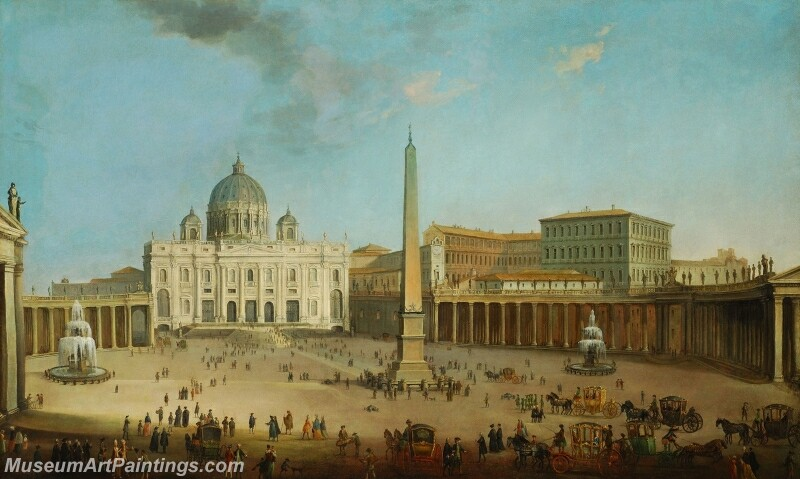 St Peters Chathedral and St Peters Square in Rome Painting