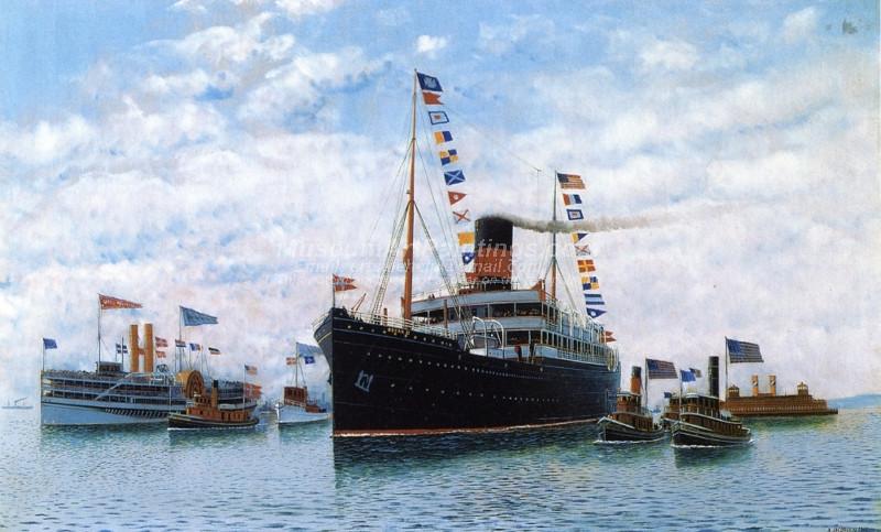 Steamship OSCAR II Entering New York Harbor