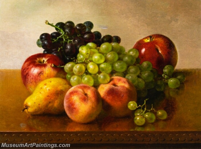 Still LIfe with Apples Grapes Peaches and Pear Painting