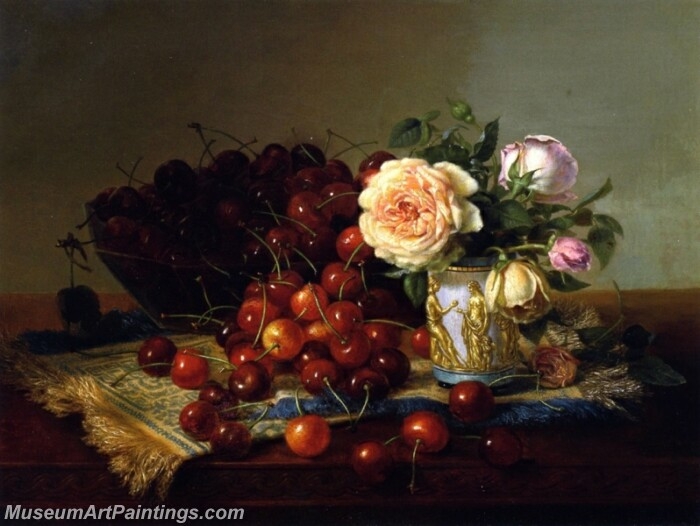 Still LIfe with Roses and Cherries Painting