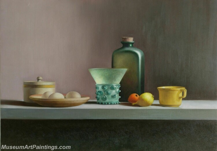 Still Life Painting Eggs Bottles
