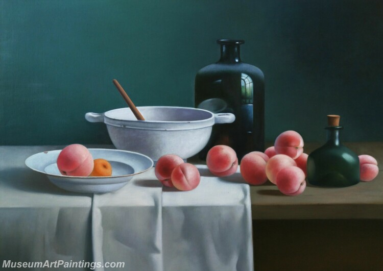 Still Life Painting Peaches Bottles