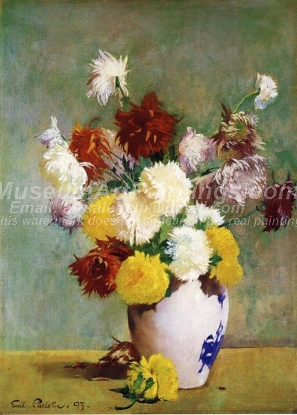 Still Life of Chrysanthemums in a Canton Vase Painting