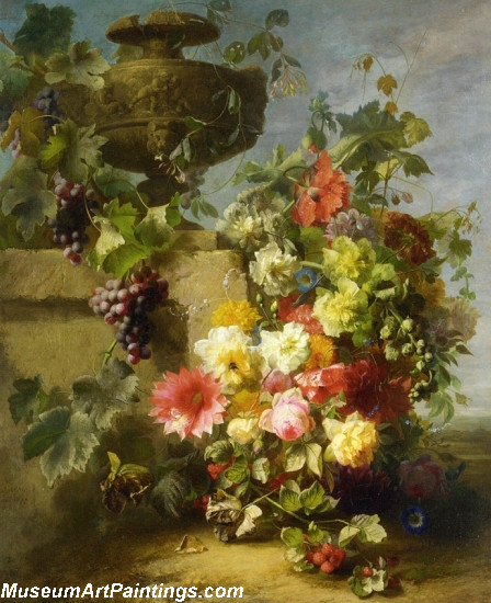 Still Life of Roses Morning Glories Chrysanthemums Grapes and Raspberries Painting